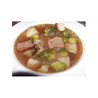 Fall Crockpot Beef and Brussel Sprouts Soup