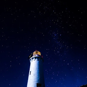 Port Fairy Lighthouse by Gill Fry - Landscapes Starscapes ( night photography, stars, lighthouse, night, nightscape,  )