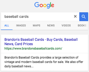 "Sample plain blue link search result for ""baseball cards"""