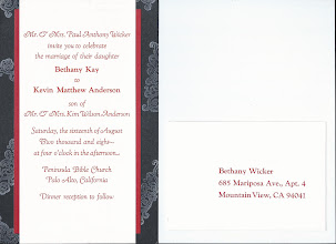 Photo: After printing, the invitations were mounted on red and black paper. Also shown is the reverse of the reply post card.