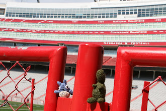 Photo: We took a tour of NU's Memorial Stadium. We toured the weight room, trophies, locker room, and charged out the tunnel walk. The best part was seeing Totoro and Godzilla outside by the football field. Go Big Red! — at Memorial Stadium.