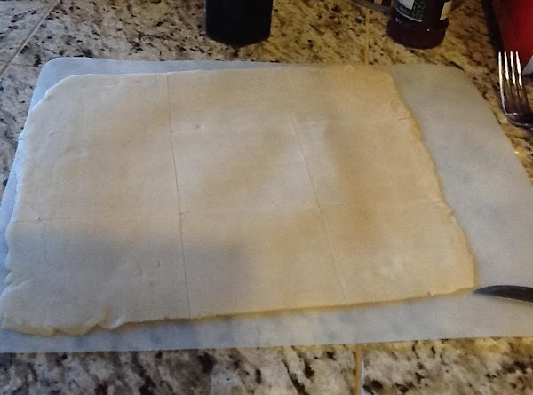 Roll dough out to make a rectangle.  I do it in two batches....