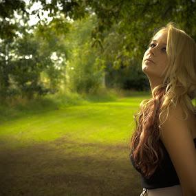 Reflecting by Bryn Graves - People Portraits of Women ( female. wood. outdoors, model, posing, sun, portrait,  )