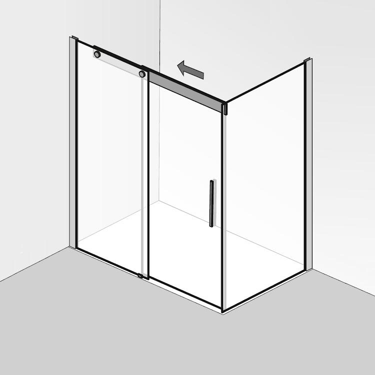 Cabines de douche  _02 K2P Schiebetür 2-teilig mit seitenwand