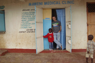 Photo: Will Ruddick and a neighbor. The Eco-Pesa community office was also a medical clinic.