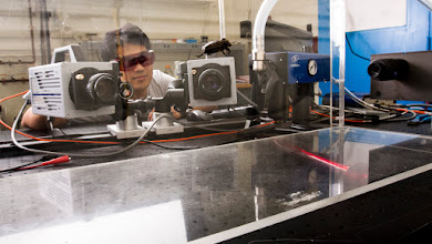Photo: Two Photron Hi-Speed Cameras for Insect Flight Visualization. Photo taken by Evan Rosen