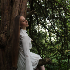 Hang by Kelly Moore - Novices Only Portraits & People ( dress, white, beauty, nature, woods, model, fairy )