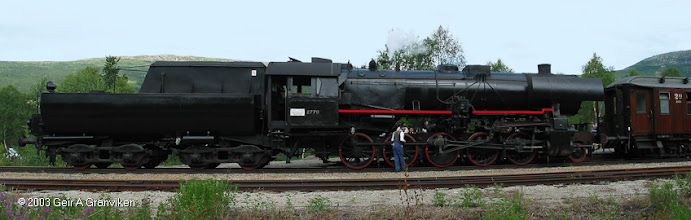 Photo: Norwegian Railway Club's steam engine type NSB 63a 2770, one of many such locomotives left by the Germans after WW2 and used by the Norwegian NSB for many years after, at Bjorli st.