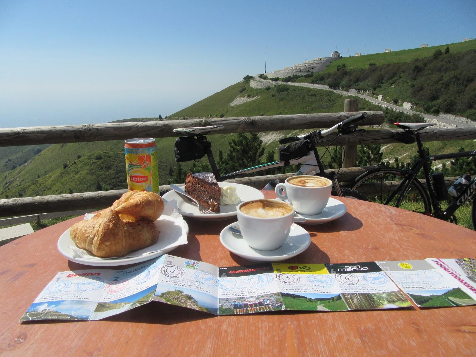 Monte Grappa from Crespano - bike climb - pastries and cappuccino at rifugio