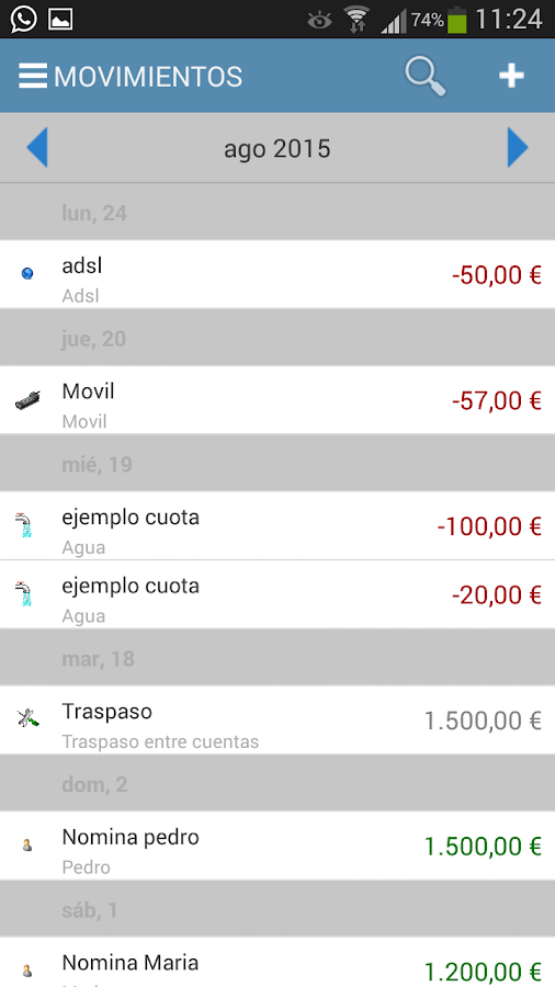 ContaMoney: captura de pantalla