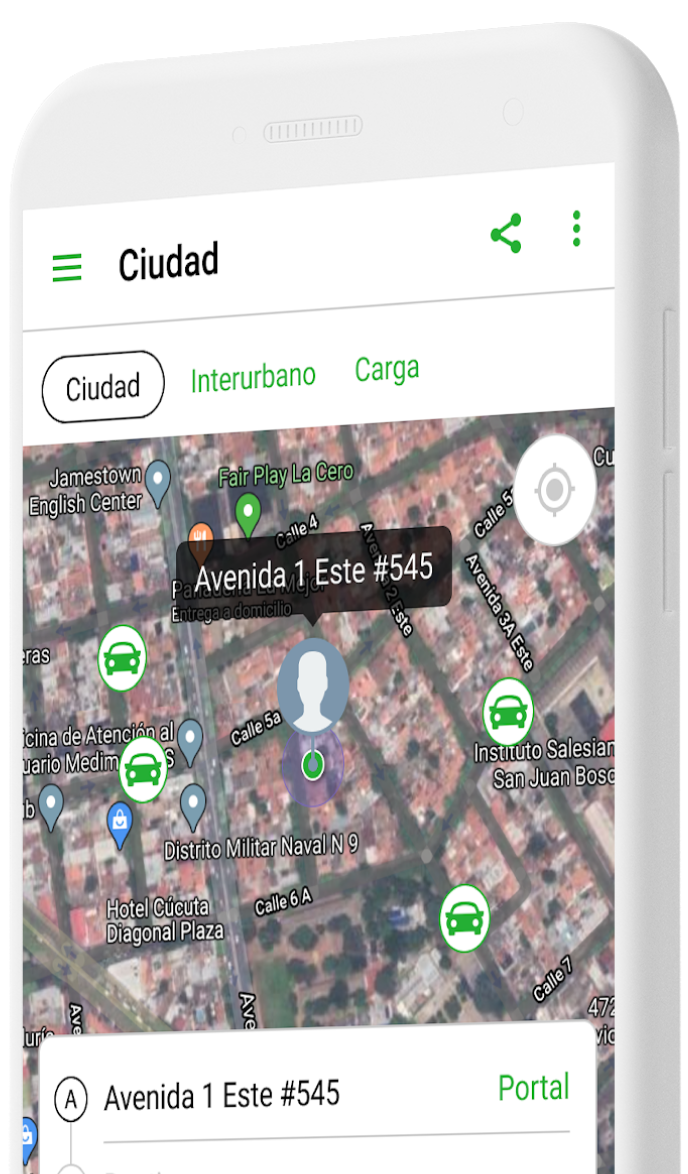 A map on a phone showing cars near a passenger's location