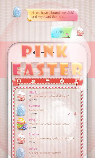 FREE GO SMS PINK EASTER THEME