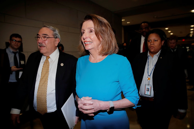 US House Minority Leader Nancy Pelosi arrives for a closed organisational meeting of Democrats to elect leaders for the 116th Congress at the US Capitol in Washington, the US, November 28 2018. Picture: REUTERS/JIM YOUNG