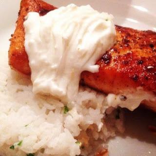 Cajun Spiced Salmon With Creamy Greek Yoghurt Sauce And Parsley Rice