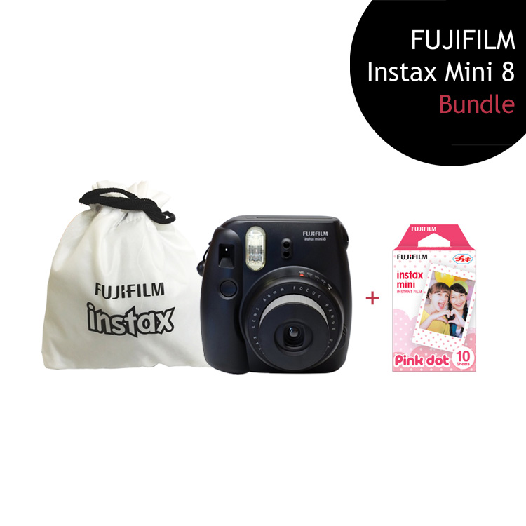 [Bundle] FUJIFILM Instax Mini 8 Camera (Black) + Pink Dot Film Pack + Instax Pouch by My Pocket Net Sdn Bhd