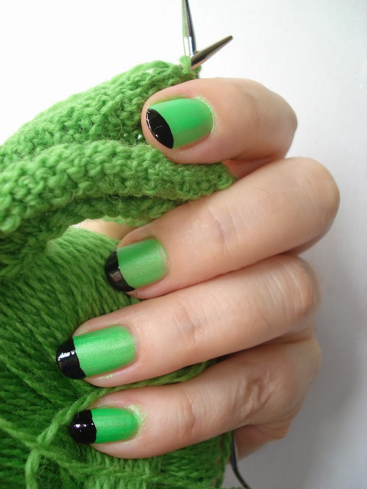 """Photo: It was fun and challenging to change up my style and create a new piece specifically for the """"Knit, Purl, Sow"""" show at the Brooklyn Botanical Garden, October 2013 - January 2014. I was inspired by all the green yarn to do my nails! Photo credit: Ruth Marshall."""