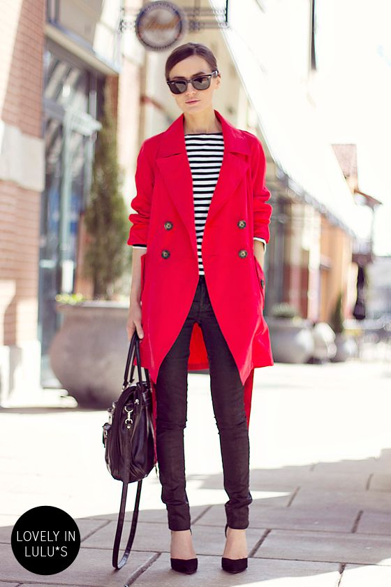 Contrasting outfit with red coat, stripe top and black jeans for Cool Winter women