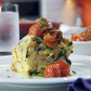 Caramelized Onion, Spinach & Gruyere Strata with Tomatoes.