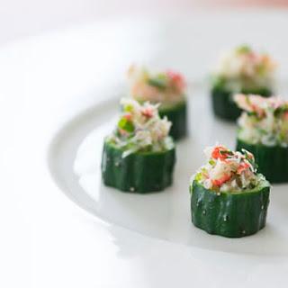 Crab Salad in Cucumber Cups.
