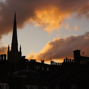 Dusk in Hampstead by Pavel Laberko - City,  Street & Park  Skylines ( clouds, roofs, night, dusk, pwcskylines )