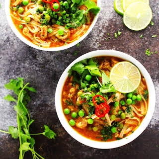 Easy Slow Cooker Thai Chicken Noodle Soup.