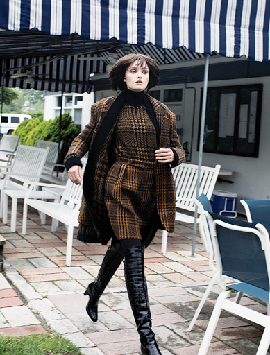 MAX MARA merino wool long sleeve turtleneck, flannel wool blend mini skirt, wool long sleeve crewneck sweater, wool cashmere blend cardigan, camel hair wool blend jacket, nylon hosiery, and embossed croc calf leather boots