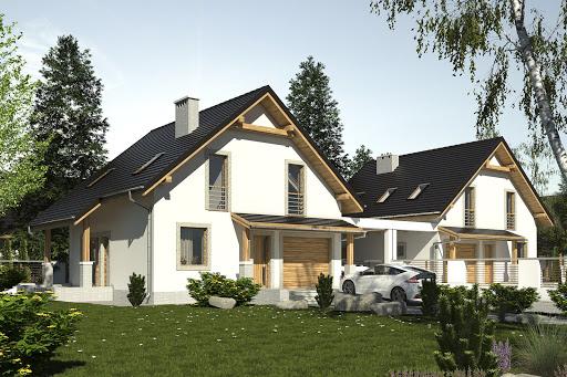 projekt Turkawka II z garażem i wiatą bliźniak A1-BL