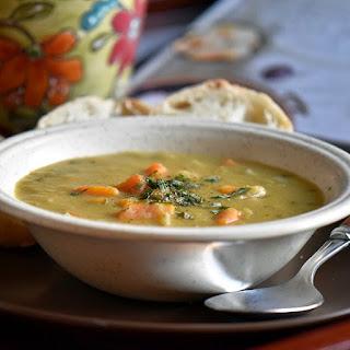 Simple Slow Cooker Vegetarian Green Split Pea Soup.
