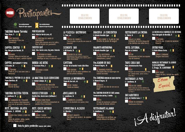 Bares participantes con sus platos inspirados en el cine.
