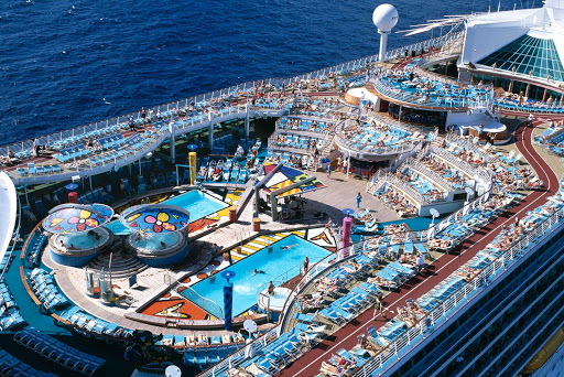 An aerial of the Solarium atop Mariner of the Seas.