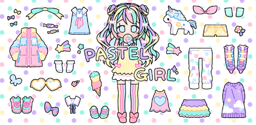 Healing game that decorates cute girl in pastel colors and backgrounds.