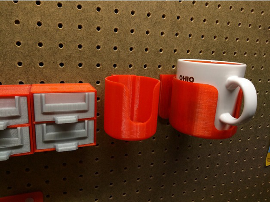 Pegboard Mounted Coffee Cup Holder by NerdAlert3D