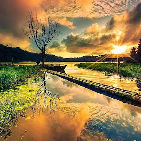 LAKE TAMBINGAN SUNRISE by Jasen Tan - Landscapes Cloud Formations