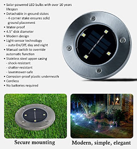 Set 4 lampi solare pentru pamant, Silver Disk Lights