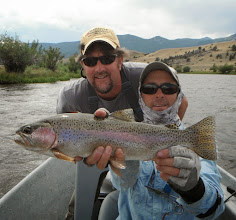 """Photo: Brian and Slide Inn head guide Steve """"Skinny"""" Moc with a nice rainbow on the Madison today. Headed to dinner then back out for the evening rise. All headed for home tomorrow....it's been a FANTASTIC week!!!"""