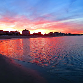 Saturated Sunset by Tanya Washburn - Landscapes Beaches ( shore, water, chesapeake, bay, ripples, sunset, beach )