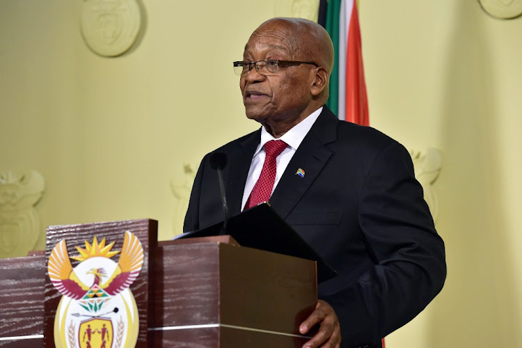 Jacob Zuma addresses the nation on Wednesday night. Picture: GCIS