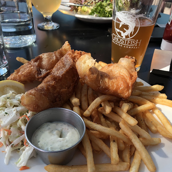 Beer battered fish n chips and the steak salad.