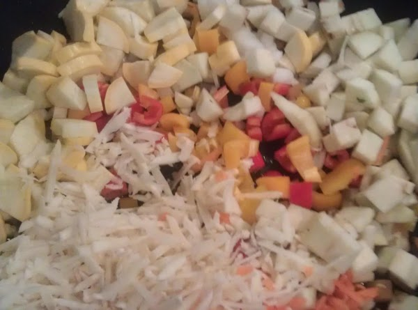 Saute to just tender: bell peppers, onion, eggplant, squash, carrot and parsnip.  Once...