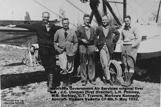 Photo: Original five: L-R , J.C. Uhlman, L.H. Phinney, M.B. Barkley, C.T. Travers, Marlowe Kennedy. Aircraft- Vickers Vedette CF-Mk.1- May 1932.