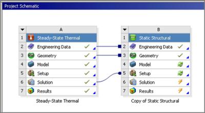 ANSYS - Теперь результаты из блока теплового расчета будут переданы в прочностной расчёт