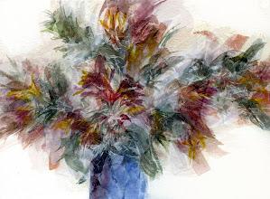 Photo: Flowers in Blue Vase