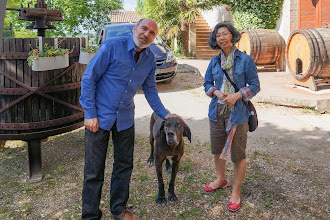 Photo: Petros and Irene with the winery dog at Fongoli