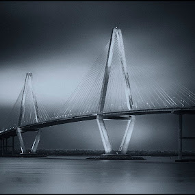 Over The Cooper River by Robert Fawcett - Buildings & Architecture Bridges & Suspended Structures ( charleston, cooper river, places, travel, bridge, south carolina )