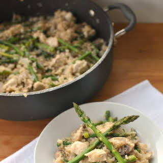 Chicken Mushroom Rice Skillet with Asparagus.