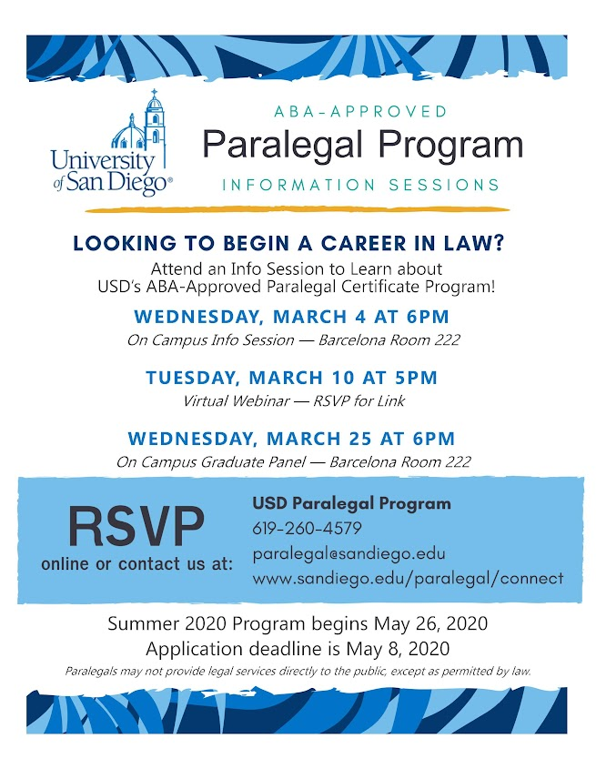 USD Paralegal Program - upcoming info sessions