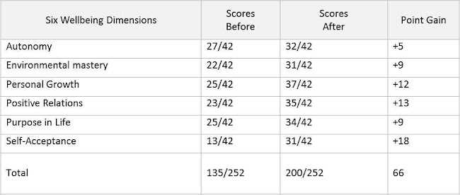 A table of scores collected before and after one to one coaching showing the wellbeing gains for one individual.