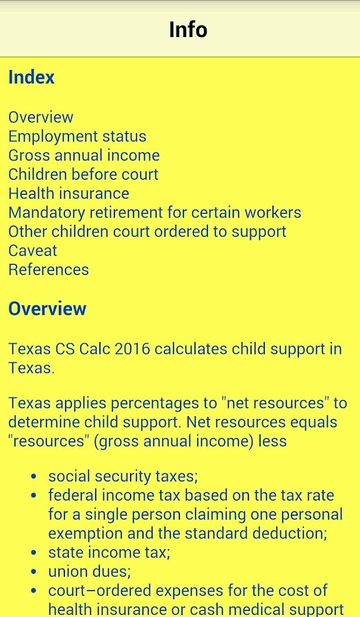 TX Child Support Calc 2016- screenshot