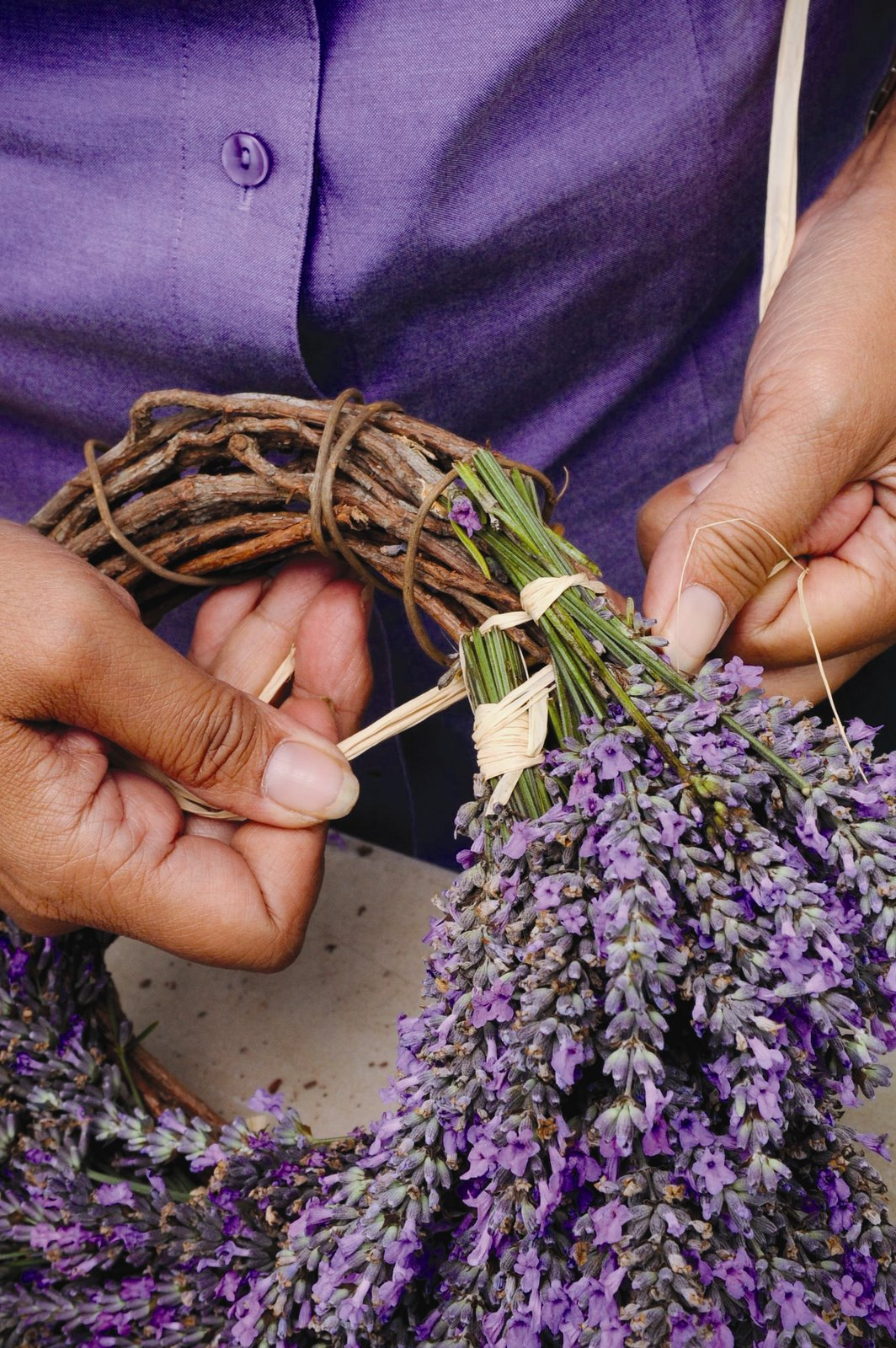 Photo: Step three of the lavender wreath craft project. PHOTO CREDIT: Ali'i Kula Lavender/The Maui Book of Lavender.