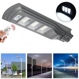 Lampa stradala 90W cu panou solar, senzor de miscare, suport de prindere inclus